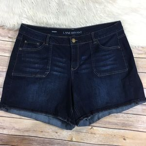 Lane Bryant denim shorts dark wash stretch size 20